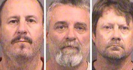 Left to right: Curtis Allen Gavin Wright, Patrick Stein. Arrested by federal authorities on Friday.